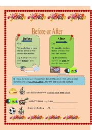 English Worksheet: before and after