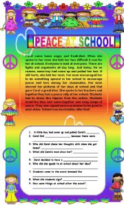 English Worksheets: Comprehension - Peace at School