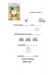 English Worksheets: nursery rhyme, HUMPTY DUMPTY
