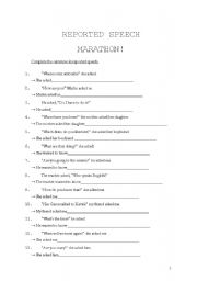English Worksheets: REPORTES SPEECH QUESTIONS