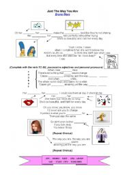 English Worksheets: SONG by Bruno Mars: JUST THE WAY YOU ARE (With key)
