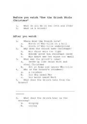 How the Grinch Stole Christmas worksheet
