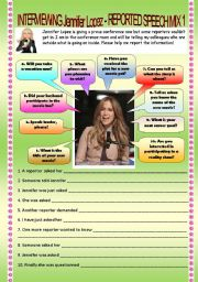 English Worksheet: REPORTING AN INTERVIEW WITH JENNIFER LOPEZ - RePoRtEd SpEeCh