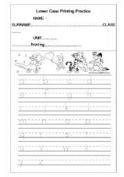 English Worksheets: Lower Case Printing Practice