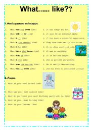 English Worksheets: What... like?