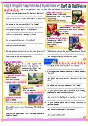 English Worksheet: Comparatives & Superlatives with Long Adjectives & Irregular Adjectives, Art & Anime Films Theme, With Key