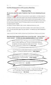 English Worksheet: Valentines� Day reading comprehension
