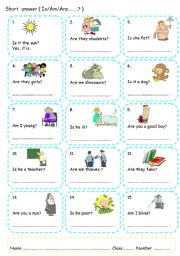 English Worksheet: Determiners and short answer (verb to be, can)