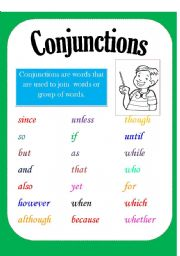 English Worksheets: Conjunction Poster