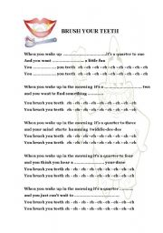English Worksheets: Brush your teeth kids song