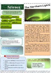 English Worksheets: Science-The Northern Lights