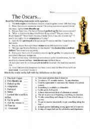 English Worksheet: The Academy awards vocabulary worksheet