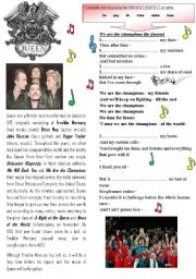 English Worksheets: We are the champions queen song present perfect