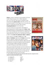 English Worksheets: Britpop