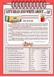 English Worksheet: Let´s read and write about ...(5) -  My room.