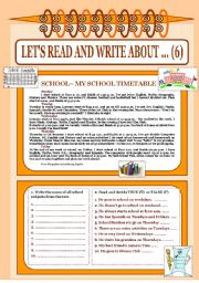 English Worksheet: Let´s read and write about ...(6)- School My timetable