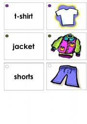 English Worksheets: Clothing Memory Game Flashcards