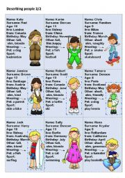 English Worksheets: describing people  2/2 -speaking cards