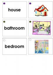 English Worksheet: House Items Flashcards / Memory Game