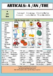 English Worksheet: ARTICALS: A / An / The