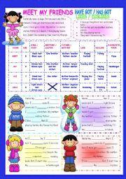 English Worksheet: TO BE-HAVE GOT/HAS GOT-LIKES/DISLIKES THROUGH READING