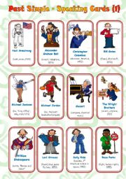 English Worksheets: Past Simple - Speaking Cards (1/2) ** fully editable** Instructions Included