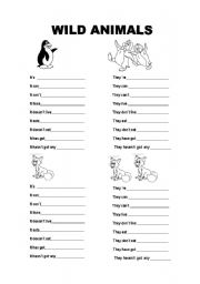 english worksheet describe these wild animals. Black Bedroom Furniture Sets. Home Design Ideas