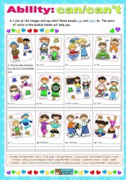English Worksheets: Can - Can�t: Ability