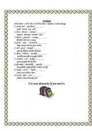 English Worksheets: Analogies