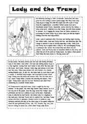 English Worksheets: Lady and the Tramp Reading Comprehension