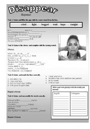 English Worksheets: Disappear - Beyoncé SONG!