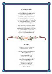 English Worksheet: poems for teacher