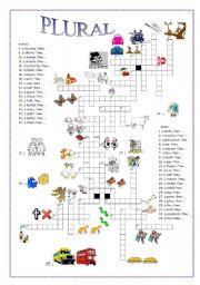 English Worksheets: Plural crossword