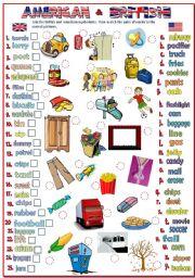 English Worksheet: American & British English (B&W + KEY)