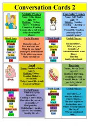 English Worksheet: Conversation Cards (set 2)