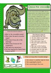 English Worksheets: Crocus the crocodile