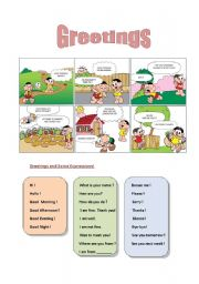 English worksheet: Greetings and some expressions to introduce yourself