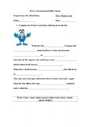 English Worksheet: WATER CYCLE STORY