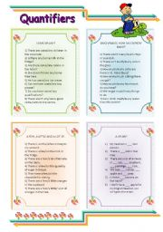 English Worksheet: QUANTIFIERS: SOME/ANY, MUCH/MANY AND A LOT OF.
