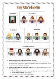 worksheet: Harry Potter Reading Activity