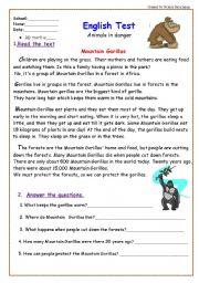 English Worksheets: Animal work sheet