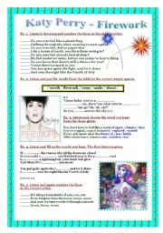 English Worksheets: Song - Katy Perry - Firework