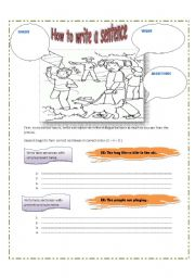 English Worksheets: How to write correct sentences