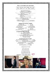 English Worksheets: Music: Just the way you are ( Bruno Mars)