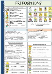 English Worksheet: PREPOSITIONS (time & place)