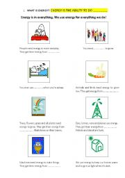 English Worksheet: WHAT IS ENERGY? ENERGY POSTER.