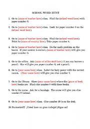 English Worksheets: School Scavenger Hunt