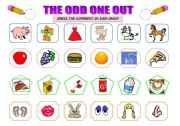 English worksheet: THE ODD ONE OUT