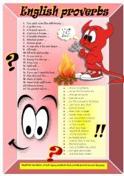 English Worksheet: PROVERBS & SAYINGS