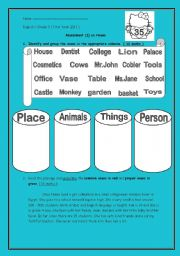 English Worksheets: Assessment on nouns